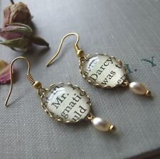 """""""MR DARCY"""" Jane Austen Handmade Glass Cameo Earrings Old Book Page Quirky Boho"""