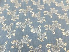 Cotton mix Chambray denim fabric floral printed blue Any length £3 p&p