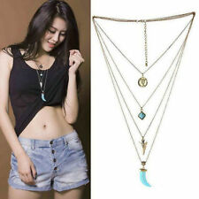 Chic Multilayer Silver Chain Gypsy Turquoise Pendant Bib Collar Necklace Jewelry