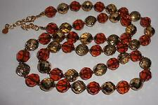 BEAUTIFUL SIGNED JOAN RIVERS ROOT BEER & CLEAR  GLASS BEAD NECKLACE