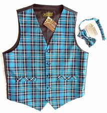 Reduced Mens 42 L Tartan Check Waistcoat & Bow Tie Bright Turquoise  Xmas Party