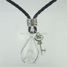 Aromatherapy oil Necklace Oil Bottle Diffuser Glass Clear Hole Bottle 17 Leather