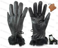 Ladies Real Leather Lined Gloves With Fur Cuff Womens Touchscreen Smart Driving
