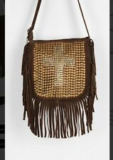 NEW Urban Outfitters Ecote Brwn Suede Cross Studded Fringe Shoulder Bag SOLD OUT