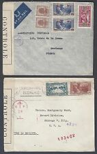 LEBANON 1940s TWO WAR TIME CENSORED COVERS TO FRANCE & US