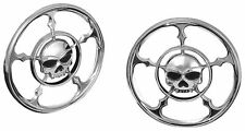 KURYAKYN CROME ZOMBIE SPEAKER BEZEL COVERS 4 HARLEY FLT FLH 96-UP 3787 49-4116