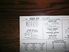 1966 Kaiser Jeep Series J Models 327 CI V8 SUN Tune Up Chart Great Condition!
