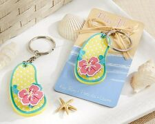 Flip Flop Tropical Flower Key Ring Keychain Bridal Shower Wedding Favors