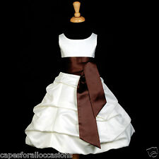 IVORY BAPTISM COMMUNION BRIDAL BUBBLE FLOWER GIRL DRESS SIZE 2 4 6 8 10 12 14 16