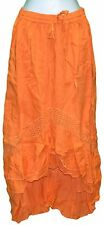 S M L XL Mullet Skirt Solid Orange Long A-Line Elastic Waist Cotton One Size NWT