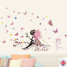 FAIRY FLOWERS BUTTERLIES Wall Sticker Vinyl Nursery GIRLS BABY PINK Disney