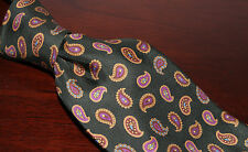 EDE & RAVENSCROFT Green Twill PAISLEY Medallion Print Silk Tie Made ENGLAND NR
