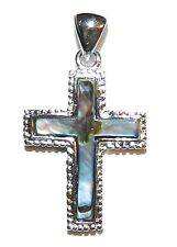 P1881L2 Cross Abalone Shell Gemstone Pendant w Silver Brass Setting 27x27mm