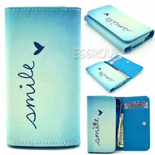 New Universal PU Leather Wallet Money Card Case Cover For Various Mobile Phones