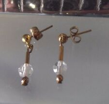 HANDCRAFTED CRYSTAL DROP EARRINGS, PIERCED, SHORT LENGTH, PIERCED STUD,NEW, AUST