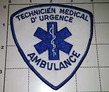 Canada Quebec QC Ambulancier EMT EMS technicien Ambulance Obsolete Patch