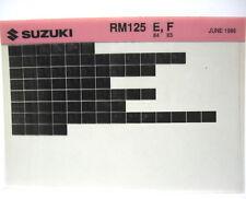 Suzuki RM125 1984 1985 Parts Microfiche s181