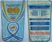 Orig.Wimpel  Olympische Spiele MONTREAL 1976 - Fussballturnier / DDR 1.Platz  !!