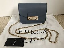 NWT Auth Furla Julia Blue Saffiano Leather Flap Mini Crossbody Bag Handbag $298