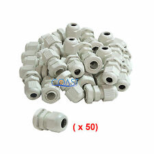 Durable Waterproof White Nylon Cable Connector Gland Dia. 6-12mm PG13.5 - 50 Pcs