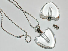 1pc. Glass Heart pendant cremation urn ashes perfume bottle Screw cap NECKLACE