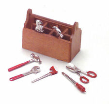 Toolbox & Tools, Dolls House Miniature, Garden Accessory, Hammer Spanner, Tool