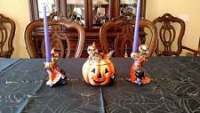 Fitz & Floyd Witch Hazel Pumpkin Candy Jar & Candleholders Halloween set w Boxes