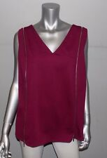 LANE BRYANT NEW Purple Ponte Knit Sleeveless V-Neck Zipper Shirt Plus sz 26/28W