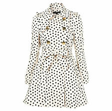 Topshop Nude Black Polka Dot Spotty Trench Coat Mac Bow Back Size 6 8 XS S