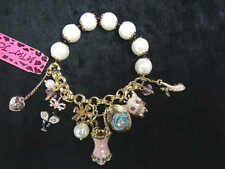 Betsey Johnson Cat Mouse Clam Multi-Charms White Pearl Bracelet [04B]