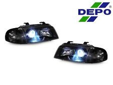 DEPO 96-98 Audi A4 B5 ECode Black Projector Headlights + Corner Light +Xenon HID