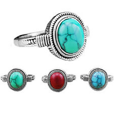 Wholesale Lot 10pcs Antique Silver Plated Cute Delicate Oval Turquoise Rings