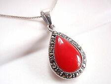Red Coral Marcasite Teardrop Pendant 925 Sterling Silver Corona Sun Jewelry