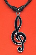 Pewter Treble Clef Pendant Cord Necklace NEW Music Black Enamel Finish