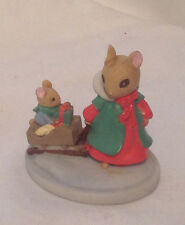 FOREST FRIENDS SLEIGH RIDE MINIATURE CERAMIC ANIMAL MICE COLLECTIBLE EC