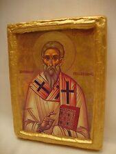 Saint Theonas Theones Rare Greek Eastern Orthodox Icon on Aged Wood Plaque