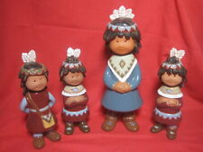 "4 - Vintage Ceramic American Indian Children Figurines 11 1/2"" & 7 1/2"" Tall"