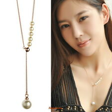 Rose Gold Filled Adjustable Chain White Pearl Long Chain Wedding Necklace N65