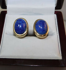 Christian Dior Blue Lapis Glass Rhinestone Gold Clip on Earrings Germany 12g 59