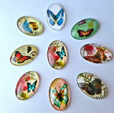 5 X Mixed Glass Vintage Style Print Oval Butterfly Cabochons Flat Back 30x20x6mm