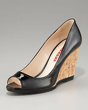 NIB PRADA Peep Toe Cork Wedge Heel Pump Shoe Black Patent Leather Sz 40.5 / 10.5