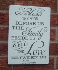 shabby & vintage chic bless the food love family sign