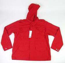 LACOSTE L!VE LIVE MENS RED CERISE RAIN WINTER BARN HOODIE JACKET L/S COAT 54 L