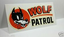 WOLF PATROL Vintage Style DECAL, Vinyl STICKER, rat rod, racing