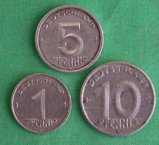 3 Coin German 1948A Pfennig 5 and 10 Germany Aluminum Coin Lot