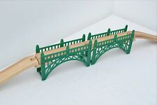 Green Wooden Train Track Bridge (Railway Set Brio ELC Bigjigs Compatible)