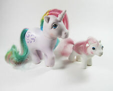 2 Vintage My Little Pony Windy Unicorn Rainbow & White SUNDANCE SLEEPY EYES 1983