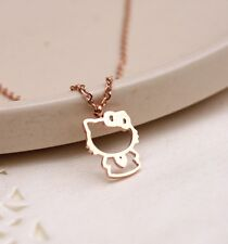 18K Rose Gold Filled Ladies Girl's Cute Hello Kitty Pendant Necklace Lovely Gift