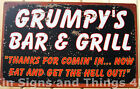 Grumpy's Bar & Grill TIN SIGN funny vtg metal garage wall decor rustic beer OHW