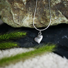 Vintage Antique Silver Small Flower Heart Charm Pendant Necklace